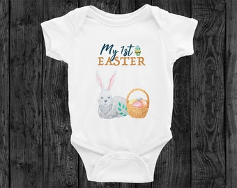 My 1st First Easter Baby Bodysuit Onesie Newborn Eggs Busket Bunny Boy Girl Cute Clothing Rabbit Skins Outfit Onesies Infant Butterfly