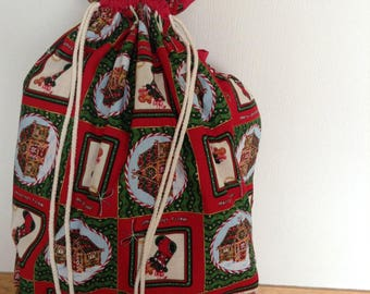 Christmas draw string gift sack large