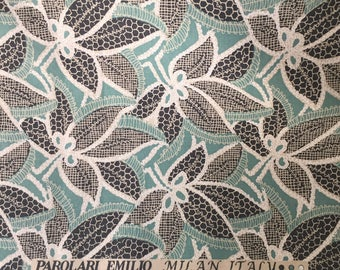 Cotton fabric by yard,Craft fabric for bag pillow cushion cover,Mint background,One yard,Milan Italy fabric,Craft supplies
