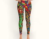 African, Tribal, Women Leggings, Ankara, Geometric, Pattern, Colorful, Abstract, Women Leggings, Yoga Leggings, Yoga Pants, Clothing
