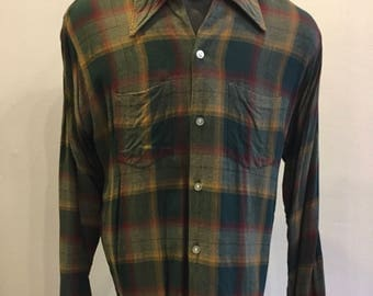 """Men's Vintage Plaid Shirt Made by """"Tops All"""" Tag Size L 16-16 1/2  Made in U.S.A. Viscose Rayon"""