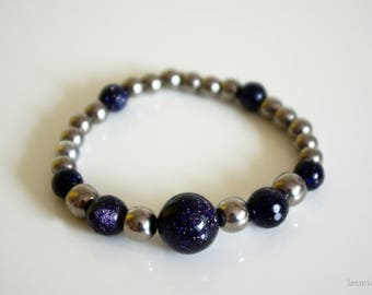 Dark Blue Goldstone and Hematite Bracelet, Gemstone Jewelry, Healing Jewelry