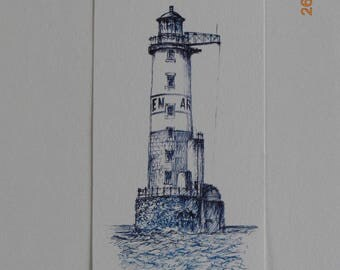 """Pen and ink on paper """"the lighthouse ARMEN"""""""