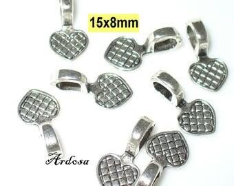 10pcs 15x8mm Tibet silver heart (K145. 7)