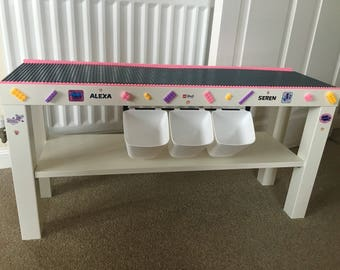 Childrens girl themed building brick table for lego