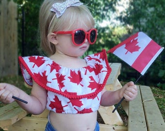 Canada Day/ Crop Top/ Custom Crop Top/ Canada 150/ Canada Day Outfit/ Girls Canada Day/ Toddler Canada Day/ Red and White top/ Custom Design