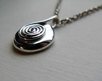 Silver Pebble Spiral Pendant