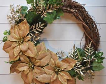 Winter Wreath, Rustic Wreath, Poinsettia Wreath, Burlap Wreath, Country Decor, Cottage Wreath, Porch Wreath, Gold Wreath, Wedding Wreath