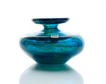 Vintage MDINA Glass Michael Harris Miniature Vase Hand Blown Art Glass from Malta Signed and Labelled
