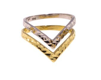 Stackable Ring - stacking Ring - V Ring - Chevron Ring - 14k Gold Ring - Promise Ring - Statement Ring - Yellow Gold Ring - Gold Jewelry
