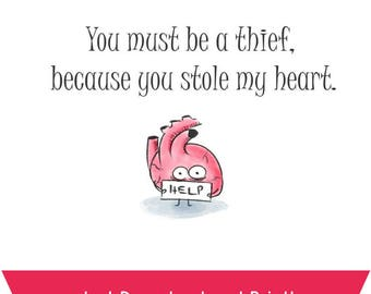 Stolen Heart Valentines Day Card - Original Illustration Greeting Card