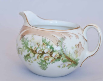 Antique Striegau Old Ivory Silesia Creamer, circa 1920's Germany, Lily of the Valley