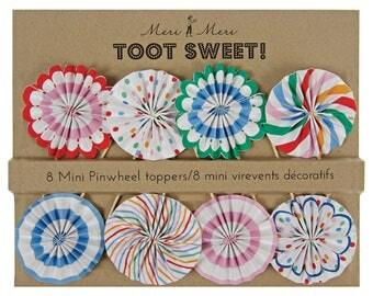 Toot Sweet Cupcake Toppers / Pinwheel Cupcake Toppers / Polka Dot Toppers / Multi-Colored Polka Dots / Rainbow Cupcake Topper