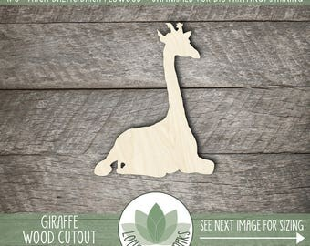 Wood Giraffe Shape, Unfinished Wood Giraffe Laser Cut Shape, DIY Craft Supply, Many Size Options