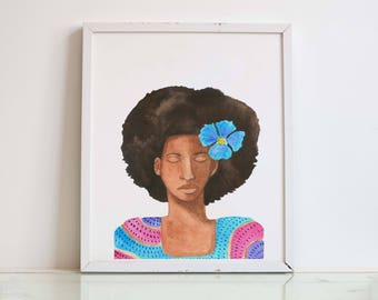 "PRINT ""Blue Flower Girl"" Watercolor Painting"