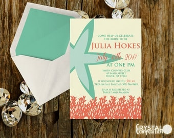 Coral and Mint Starfish Bridal Shower Suite Printable