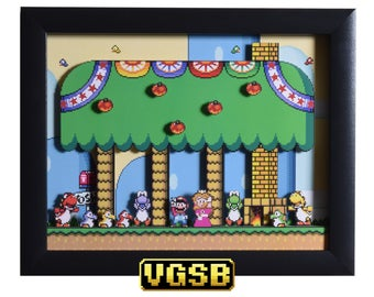 Super Mario World Shadowbox - Yoshi's House - SNES - Super Nintendo - 3D Shadow Box Glass Frame - 12x10 - Birthday Gift - Gamer Gift