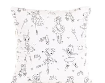 SALE ENDS SOON Ballerina Pillow Cover, Little Dancers Color Me Pillow Cover, Girls Craft, Pillow Cover for Coloring, Mom and Daughter Activi