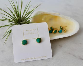 Natural Stone, dainty, Turquoise, Minimalist, Gold Plated, boho, trendy, gift for her, Stud Earrings, genuine stone,