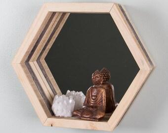 Geometric Hexagon Shelf - Reclaimed Wood, Mirrored, Natural and Gray