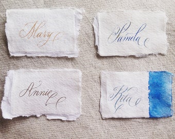 Custom calligraphy for wedding place cards, escort cards, placement cards, name cards - UK