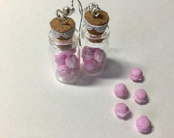 Vial earrings mini macaron fimo