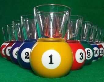 Art Number Style Pool Ball Shot Glasses Full Set