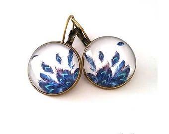 • feather earrings • blue • Bohemian earrings sleepers bronze feathers of Peacock, cabochon, fancy earrings