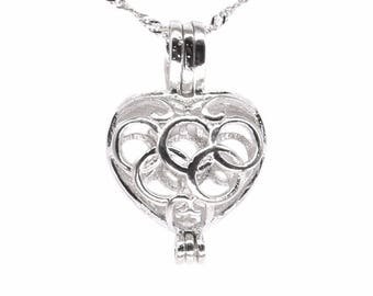 Heart pearl cage pendant, sterling 925 silver cage, olympic 5 rings pearl charm cage, pearl cage pendant necklace, love charm F3145-P