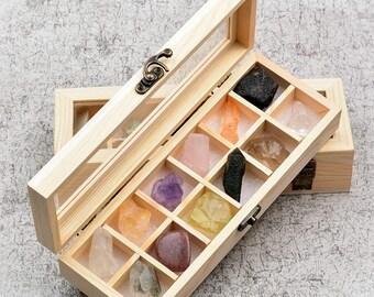 Wooden Gift Box Chakra Stones Set - Healing Chakra Crystals-  Crystal Gift - Amethyst Crystal - Rose Quartz - Chakra Gift - Gift For Kids