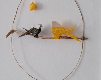 Dream catcher / mobile origami star and chickadees / yellow and black