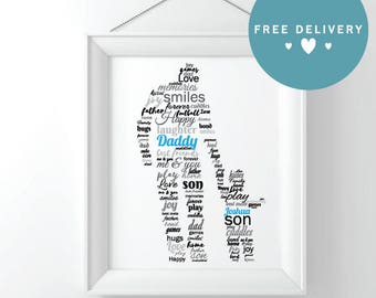 Father & Son/Daughter Father's Day Print, Personalised Gift, Framed Print, made to order