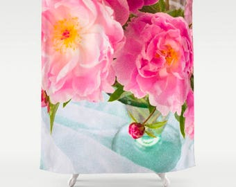Pink Floral Shower Curtain, Peony Shower Curtain, Pink Bathroom Decor, Pink Flowers Bath Mat, Aqua Shabby Chic Botanical Print, Peony Print