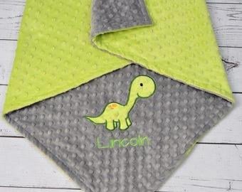 Dinosaur Baby Blanket-Personalized Brontosaurus Dino Minky blanket-Personalized Dinosaur Minky Blanket-Minky baby blanket-Dino Minky Blanket