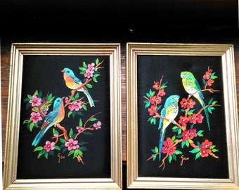 """French paintings vintage on black """"silk"""" framed birds pair brocante gipsy boudoir bohemian chic chinoiserie framed château hand painted"""