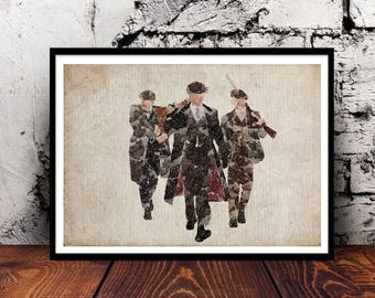 Peaky Blinders Shelby Boys A4 watercolour print unique gift for PeakyFans Birmingham Tommy Shelby Arthur Shelby Jon Shelby Cillian Murphy