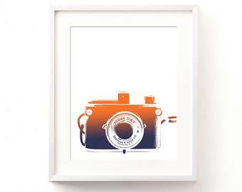 camera poster, gift for photographer, digital print, photography art print, orange blue decor, ombre, boys room decor, baby nursery wall art
