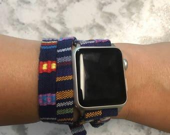 Blue European woven cotton double tour Apple Watch band
