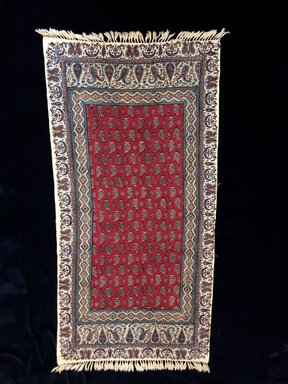"""45""""inches long Red Table runner, traditional hand printed cotton tapestry art , natural dyes with tassels"""