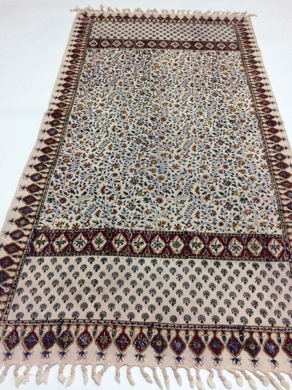 "Hand block printed 45"" inches flowers Table runner, natural dyes with tassels tapestry ,tabletop"