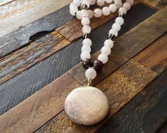 Sacred Healing Mala - Rose Quartz, Smoky Quartz, Red Garnet, Mookaite