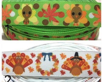 Turkey Ribbon, Thanksgiving Ribbon, Gobble Ribbon, Turkey Grosgrain Ribbon