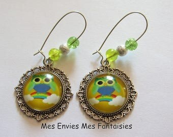 Earrings OWL ღ cracked beads yellow and green ღ ღ silver Stardust beads