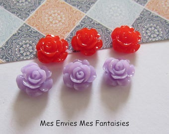 6 cabochons resin flowers 12mm base 10mm about red and purple R29