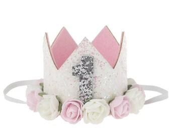 Baby girl first birthday crown, birthday crown, flower crown , first birthday, party crown