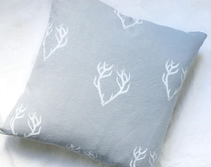 Organic canvas pillow cover - antlers in white on grey canvas