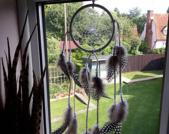 Small White Dream catcher with guinea fowl feathers