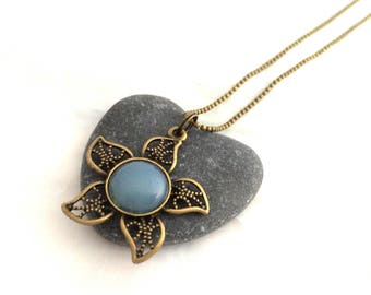 Blue Flower necklace - Bronze ball chain