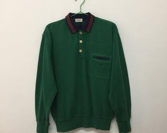 Vintage Celine Sweater/90s Celine Paris Jumper/Designer Luxury/Green/Size L