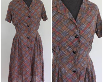 Vintage 1950s Plaid Day Dress - 50s 60s Soft Shirtdress - AS IS - Size Small, Medium